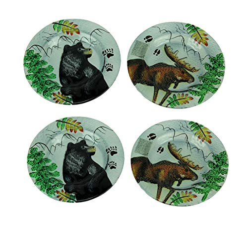 Set of 4 Lodge Black Bear and Moose Round Art Glass Salad ()