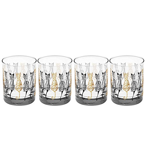 Culver Gold 22k Cats 14-Ounce DOF Glass (Set of 4)