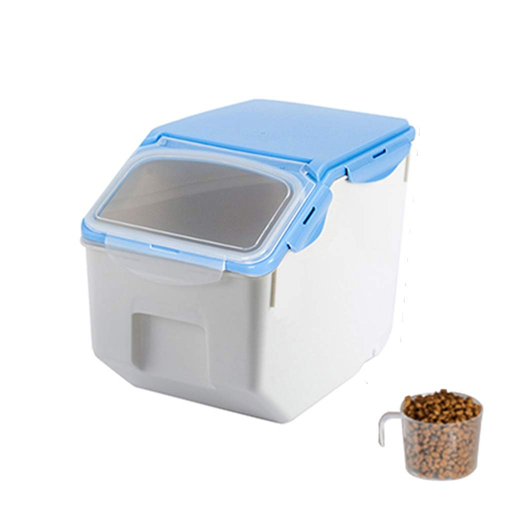 bluee S(19.5x32.5x26.3cm)Bulk Storage Bins Food Storage Container Airtight Pet Food Container Dog Food Storage Measuring Scoop 1 Cup (color   bluee, Size   S(19.5x32.5x26.3cm))