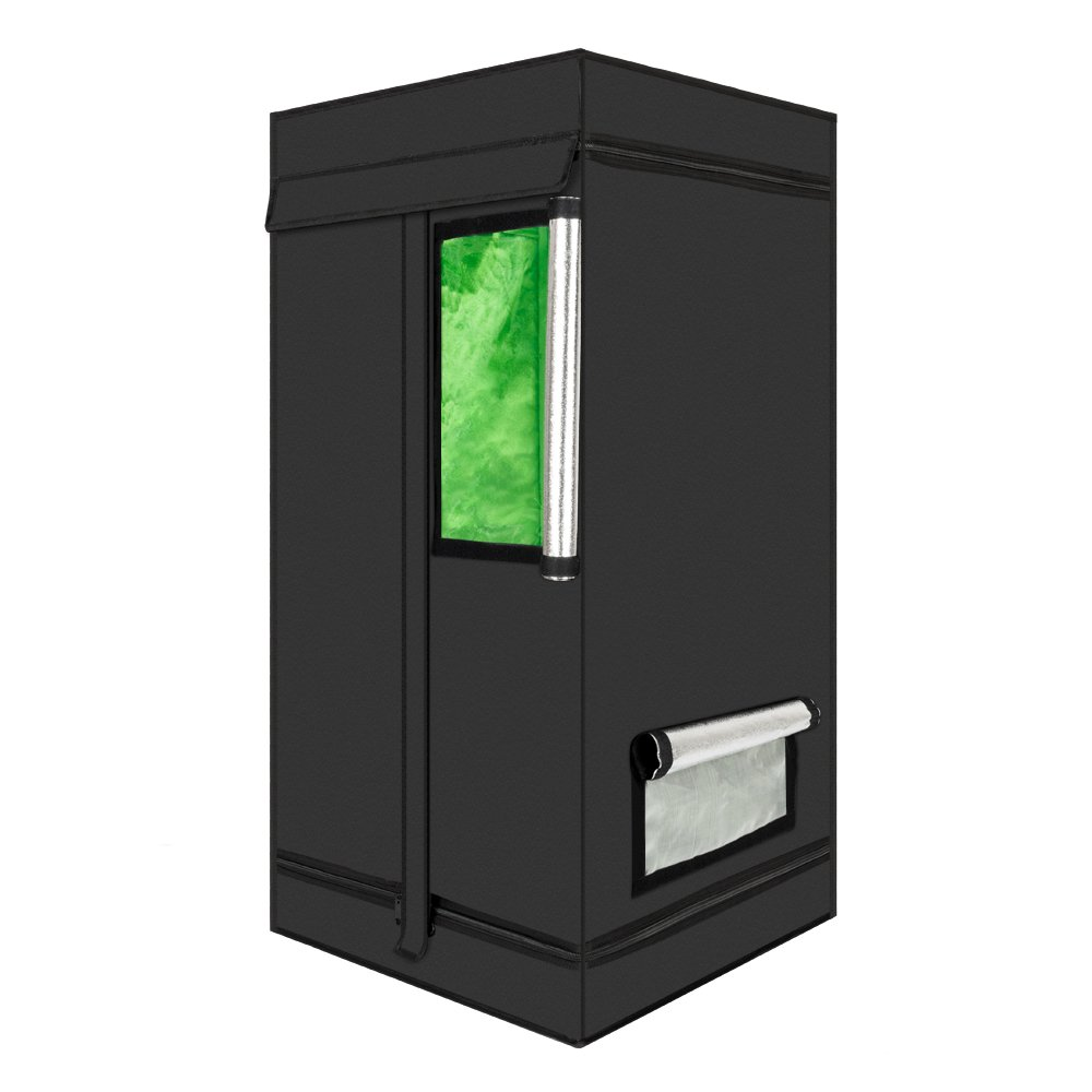 Lovinland Growing Tent 60 x 60 x 120cm Home Use Dismountable Hydroponic Plant Growing Tent with Window Green & Black