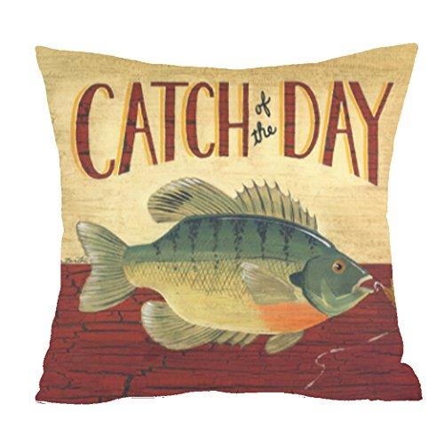 Retro Love fishing Catch the big one Hooks Cotton Linen Square Throw Waist Pillow Case Decorative Cushion Cover Pillowcase Sofa 18