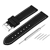 Bewish Silicone Rubber Strap Watch Band Replacement Red / White Stitching + Spring Bar Removal Tool (28mm, White Stitching)