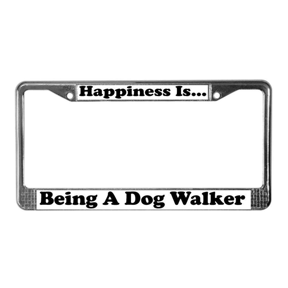 CafePress – Glück Hund Walker WHT Nummernschild Rahmen – Chrom ...