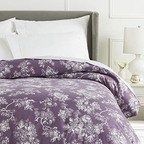 Pinzon 170 Gram Flannel Duvet Cover - Full/Queen, Floral Lavender (Flannel Sheets Tartan)