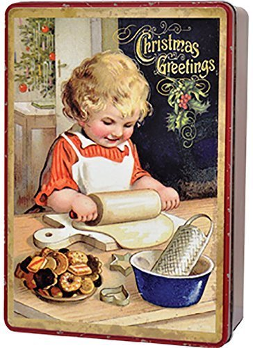 Christmas Tin Cookies.Amazon Com Vintage Christmas Holiday Cookie Tin Container
