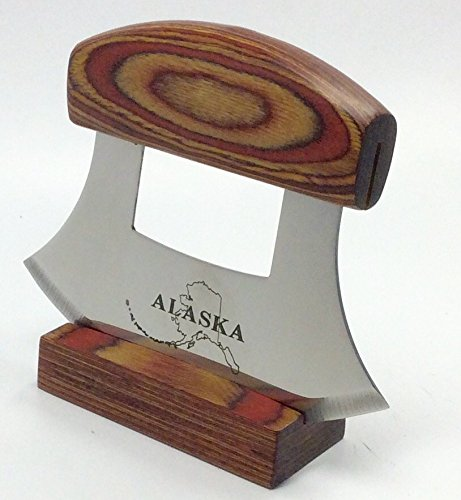 Alaska Ulu Knife Natural Exotic Wood Stand Etched Blade by Arctic Circle (Image #2)