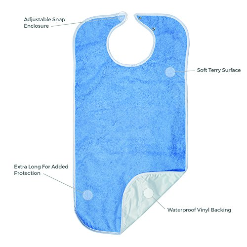 Priva Extra Long Adult Terry Bib With Protective Waterproof Backing, 18'' x 35'' by Priva (Image #2)
