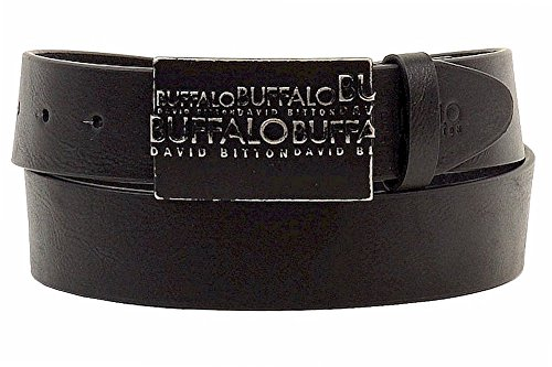 Buffalo Men's Casual Belt with Raised Logo Plaque Buckle
