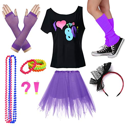 I Love The 80's T-Shirt Fancy Outfit Dress for 1980s Theme Party Supplies (XL/XXL, Purple)]()