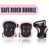 Kuxuan Girl's Cira Pink Protective Gear Set Including Knee Pads Elbow Pads and Wrist Guards, For Kid Multi Sports Uses: Skateboarding, Roller Skating, Cycling, Balance Biking, and Scooter