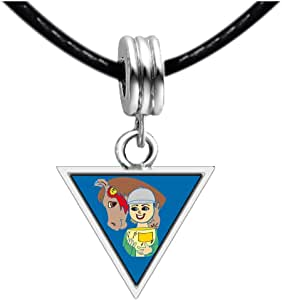 Chicforest Silver Plated Olympics Equestrian Individual Eventing winner Photo Triangle Charm Beads Bracelets European Bracelets Compatible
