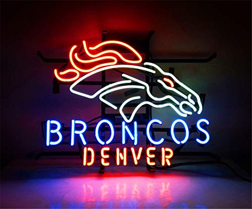 """Broncos Denver"" Neon Ohlala Neon Light Sign Custom Name Beer Bar Home Decor Open Store Lamp Display 17""X14""."