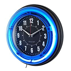 11 Vibrant Blue Neon Analog Wall Clock Home Room Decor