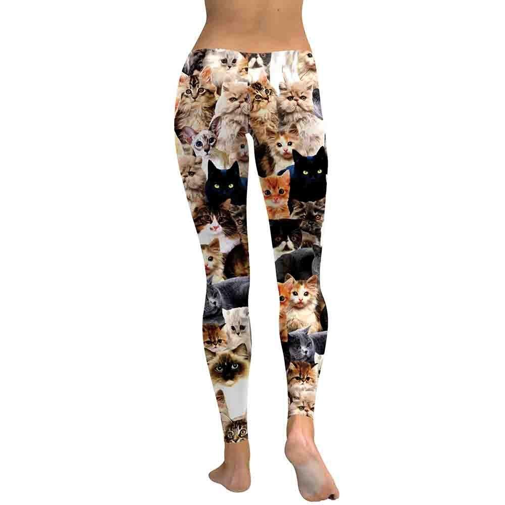 Mitiy Cat Printing High Waist Sport Skinny Workout Gym Compression Legging Sports Training Pants Yoga Pant for Women