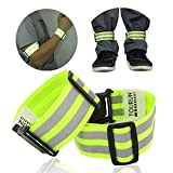 Reflective Running Gear Bands Armband Belt for Night Walking Bike, Adjustable Reflective Bands for Runners Women Kids Men, Bicycle Pants Cuff Bands Straps Clip, Arm Ankle Leg Safety Bands for Cycling