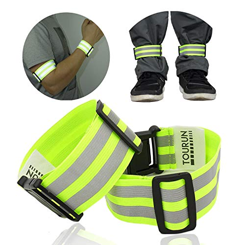 (Reflective Running Gear Bands Armband Belt for Night Walking Bike, Adjustable Reflective Bands for Runners Women Kids Men, Bicycle Pants Cuff Bands Straps Clip, Arm Ankle Leg Safety Bands for Cycling)