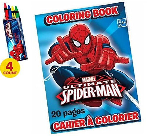 Puzzle and Activity Mini Book WithMatching Crayons Hunt Enterprises Spider-Man 20 Page Coloring