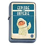 Silver Flip Top Oil Lighter Vintage Poster D-207 Explore The Universe Nasa Space