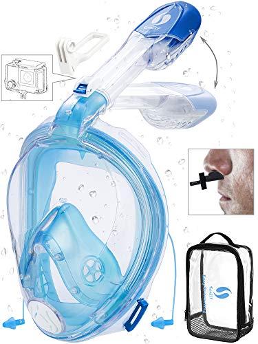 Full Face Snorkel Mask 2019 Upgrade Ear Pressure Balance Foldable Breath Free No Leaking 360 Snorkel Mask