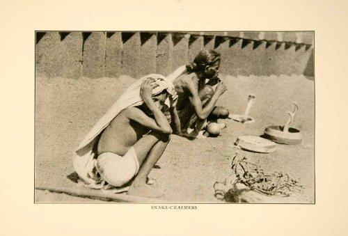 Native Snakes (1929 Print Ahmadabad India Snake Serpent Charmers Natives Cobras Historic Image - Original Halftone Print)