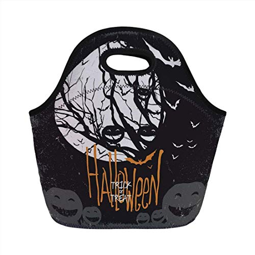 Portable Bento Lunch Bag,Vintage Halloween,Halloween Themed Image with Full Moon and Jack o Lanterns on a Tree Decorative,Black White,for Kids Adult Thermal Insulated Tote Bags -