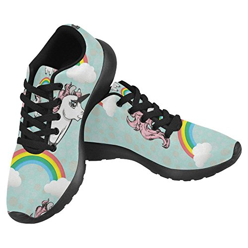 InterestPrint Women's Jogging Running Sneaker Lightweight Go Easy Walking Casual Comfort Running Shoes Size 8 Cute Unicorns and Rainbows