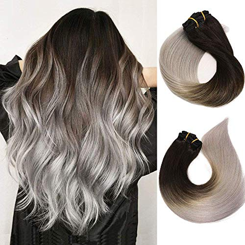 Clip In Hair Extensions Human Hair Ombre Hair Natural Black Fading to Silver Gray Brazilian Hair 120g 7pcs Per Set Remy Hair Full Head Silky Straight Human Hair Clip In Extensions 22 Inch