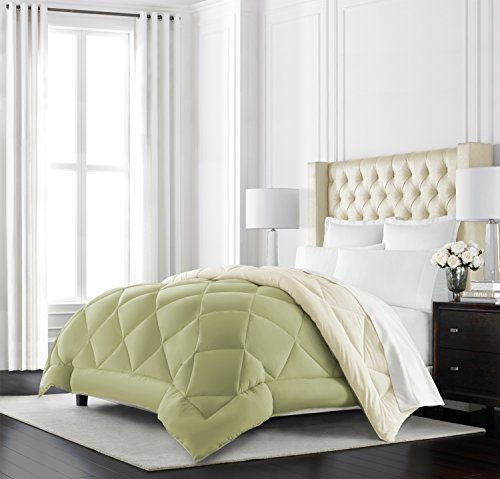 Beckham Hotel group Goose off optionally available reversible Comforter - All Season - Premium of quality Luxury Hypoallergenic Comforter - King/Cal King - Sage/Ivory Black Friday & Cyber Monday 2018