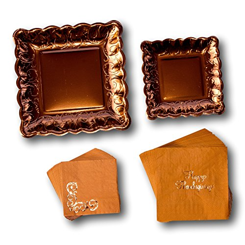 Elegant Thanksgiving Fall Party Paper Plates and Napkins Bundle - Party Pack Set Includes Disposable Dinnerware Plates - Dessert Plates and Napkins -