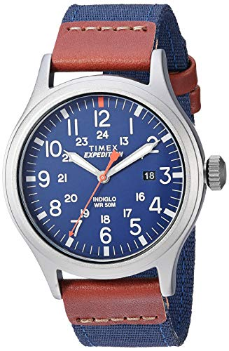 Timex Men's TW4B14100 Expedition Scout 40 Blue/Brown/Gray Leather/Nylon Strap Watch