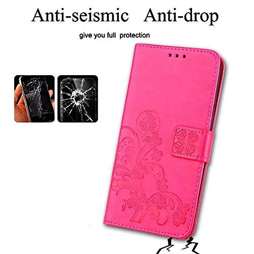 Protettivo LG Flip Sottile Cover Clover X Custodia LG X Magnetico LG Morbido TPU Borsa Cuoio Marron per Portafoglio Charge fortunato Silicone Pelle Custodia LEMORRY 2 M320G Power2 Power X Rosa Bumper PwYaH