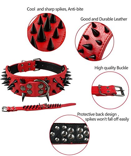 Benala Pet Dog Collar Adjustable Harness Spiked Studded Faux Leather Punk Rivet Dog Collar Pu Sharp Spikes Dog Supplies,Golden brown,M