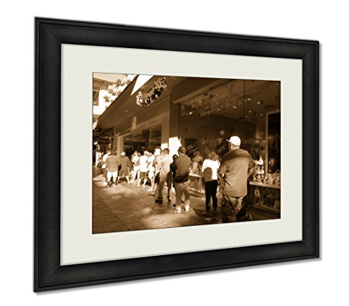 Ashley Framed Prints People Stand In Line To Get Inside Microsoft Windows Store For B, Wall Art Home Decoration, Sepia, 30x35 (frame size), - At Ala Moana Shops