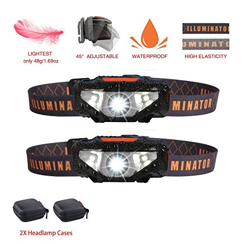 2 LED Headlamps Flashlights with 2 Portable Pouch Cases,Bright Running Headlamp,Waterproof Head Lamp,Best Headlight for Night Jogging,Hiking,Camping,Reading,Dog Walking,Kids,1.6oz/48g(NO AA Battery)