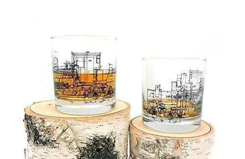 Whiskey Glasses- Locomotive Engine Blueprint - Railroad Themed Rock Glasses - Set of Two 11oz. - Locomotive Small