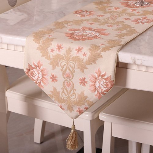 Lame Table Runner - Luxury flower embroidered floral table runner with tapestry 80 inch approx quilted