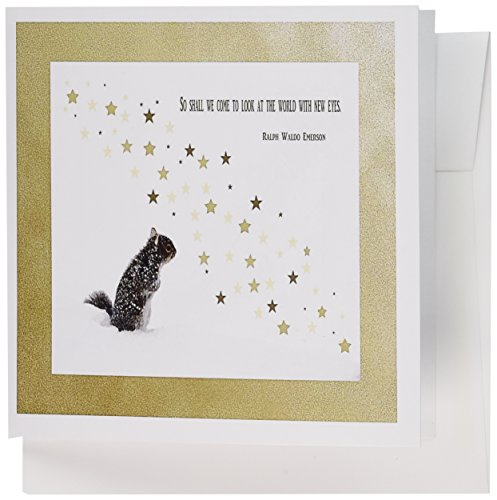 3dRose Squirrel, New years, Ralph Waldo Emerson Quote - Greeting Cards, 6 x 6 inches, set of 12 (gc_62729_2) from 3dRose