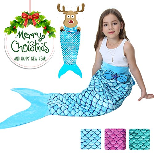Mermaid Tails Blanket For Girls Flannel Soft Warm All Seasons Sleeping Bags Best Great Gift for Friends family Apply to Bedroom Sofa Beach outdoor (C-blue) (The Best Halloween Costumes 2017)