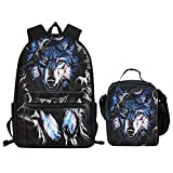 Showudesigns 15.6 inch School Bag and Lunch Bag for Teenager Boys Wolf Cool Backpack Rucksacks with Lunchbox Insulated for Secondary Student
