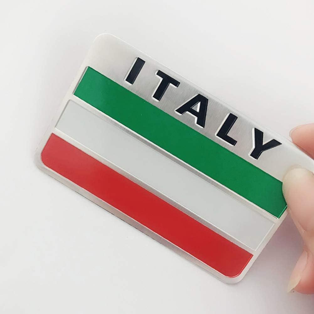 Hieefi 5 Pcs Italie Drapeau Decal Alliage Daluminium Autocollant De Voiture Italie Embl/ème Badge Creative Car Styling Autocollant pour Moto V/éhicule Autocollant De Voiture De Mode Autocollant