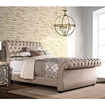 upholstered sleigh bed king in l x in w x 47 5 in h kitchen dining. Black Bedroom Furniture Sets. Home Design Ideas