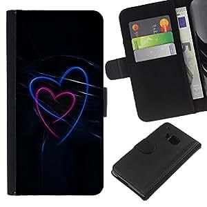 WINCASE ( NO PARA HTC ONE MINI M4) Cuadro Funda Voltear Cuero Ranura Tarjetas TPU Carcasas Protectora Cover Case Para HTC One M7 - el amor de neón negro, azul, rosa