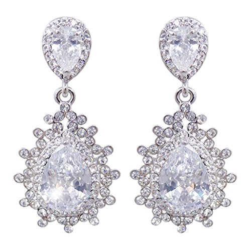 EVER FAITH® La Flamme de Goutte- Boucle d'Oreilles Transparent Zircon Cristal Autrichien N03167-1
