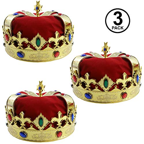 Royal Jeweled King's Crown - Costume Accessory (3 Pack) -