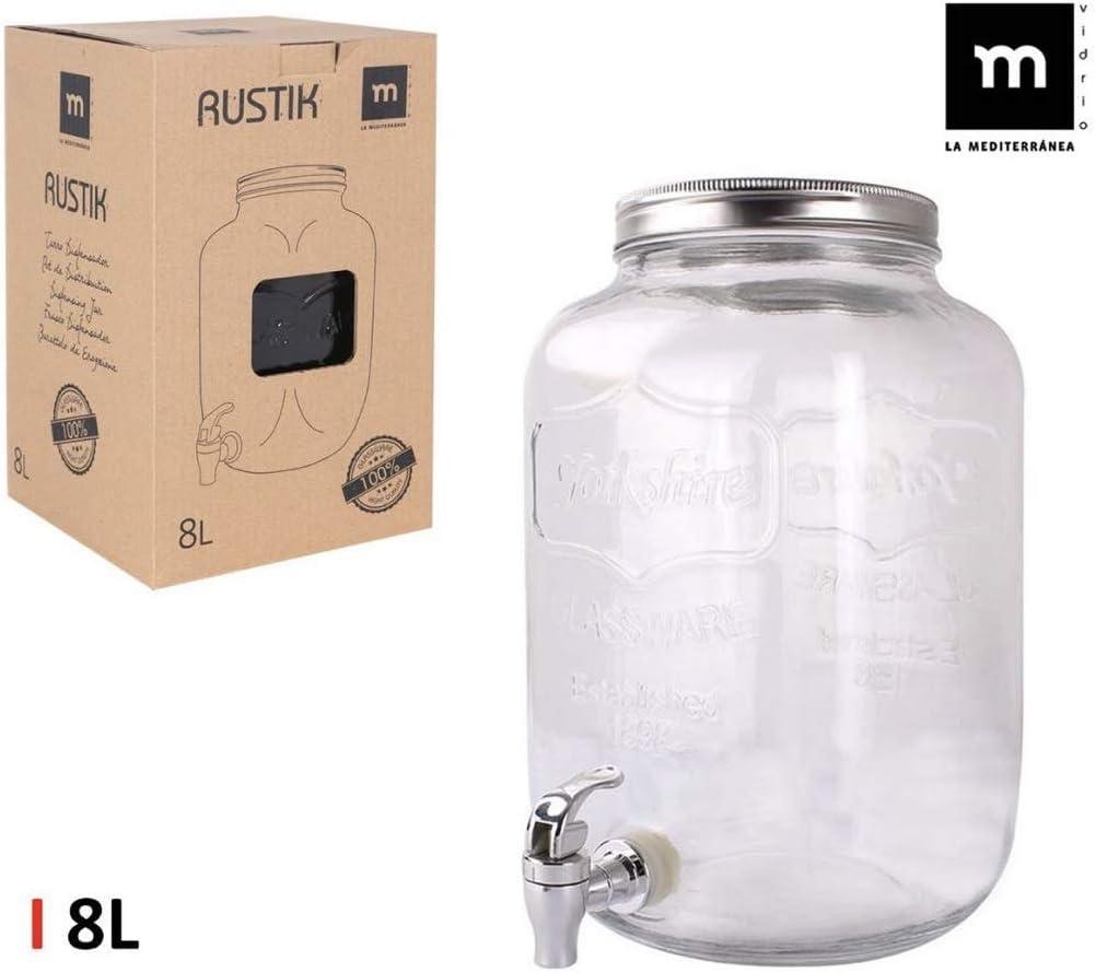 LEYENDAS Barattolo con rubinetto dispenser di vetro coperchio in metallo 3L