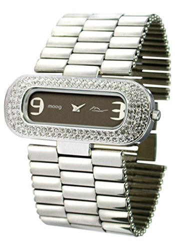 Moog Paris - Metal Glam - Women's Watch with black dial, silver strap in Stainless steel, made in France - M44084-002