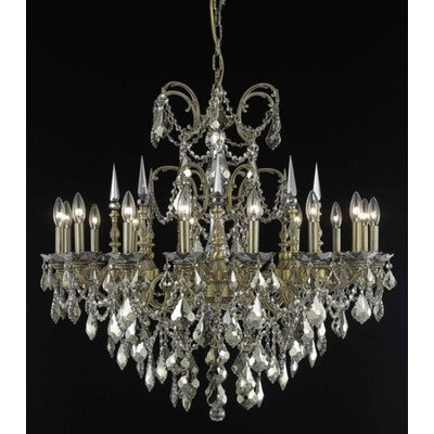 Elegant Lighting 9716D35PW/EC Cut Clear Crystal Athena 16-Light, Single-Tier Crystal Chandelier, Finished in Pewter with Clear Crystals ()