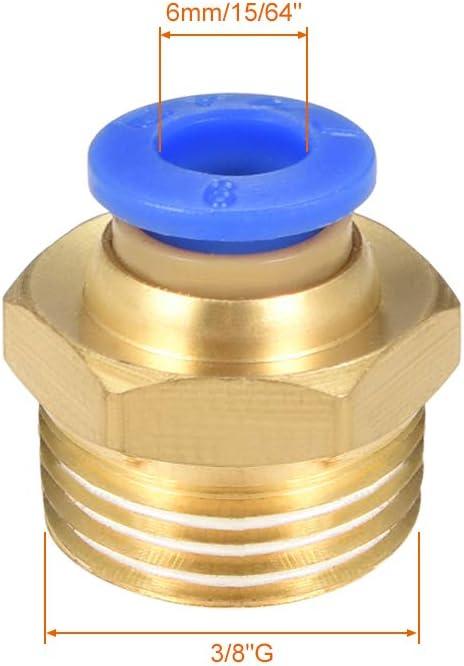 Juego de accesorios de conexi/ón r/ápida macho de 3//8 x 6 mm, 6 unidades Sourcingmap