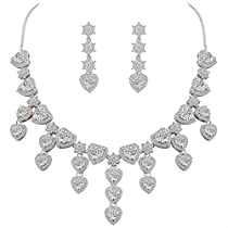 BriLove Womens Wedding Bridal Austrian Crystal Teardrop Cluster Statement Necklace Dangle Earrings Set