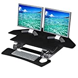 Seville Classics OFF65869 Airlift 43'' Gas-Spring Adjustable Cubicle Corner Standing Desk Ergonomic Workstation with Keyboard Tray (Max Height 19.7''), Black